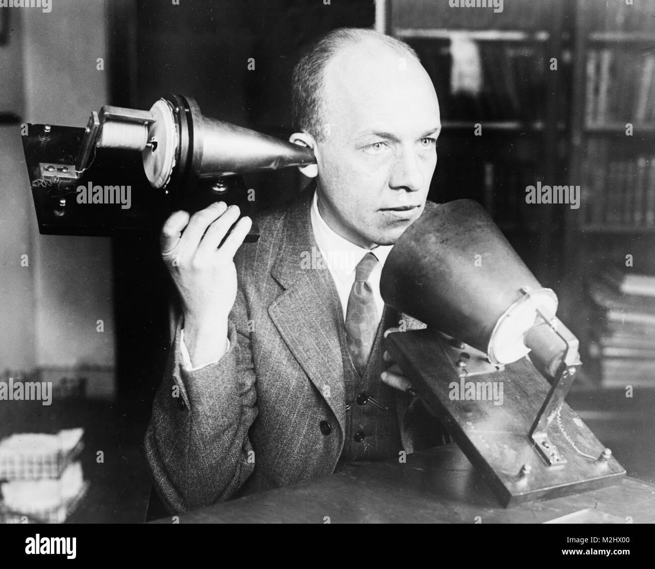 Alexander Graham Bell del primo telefono, 1915-25 Immagini Stock
