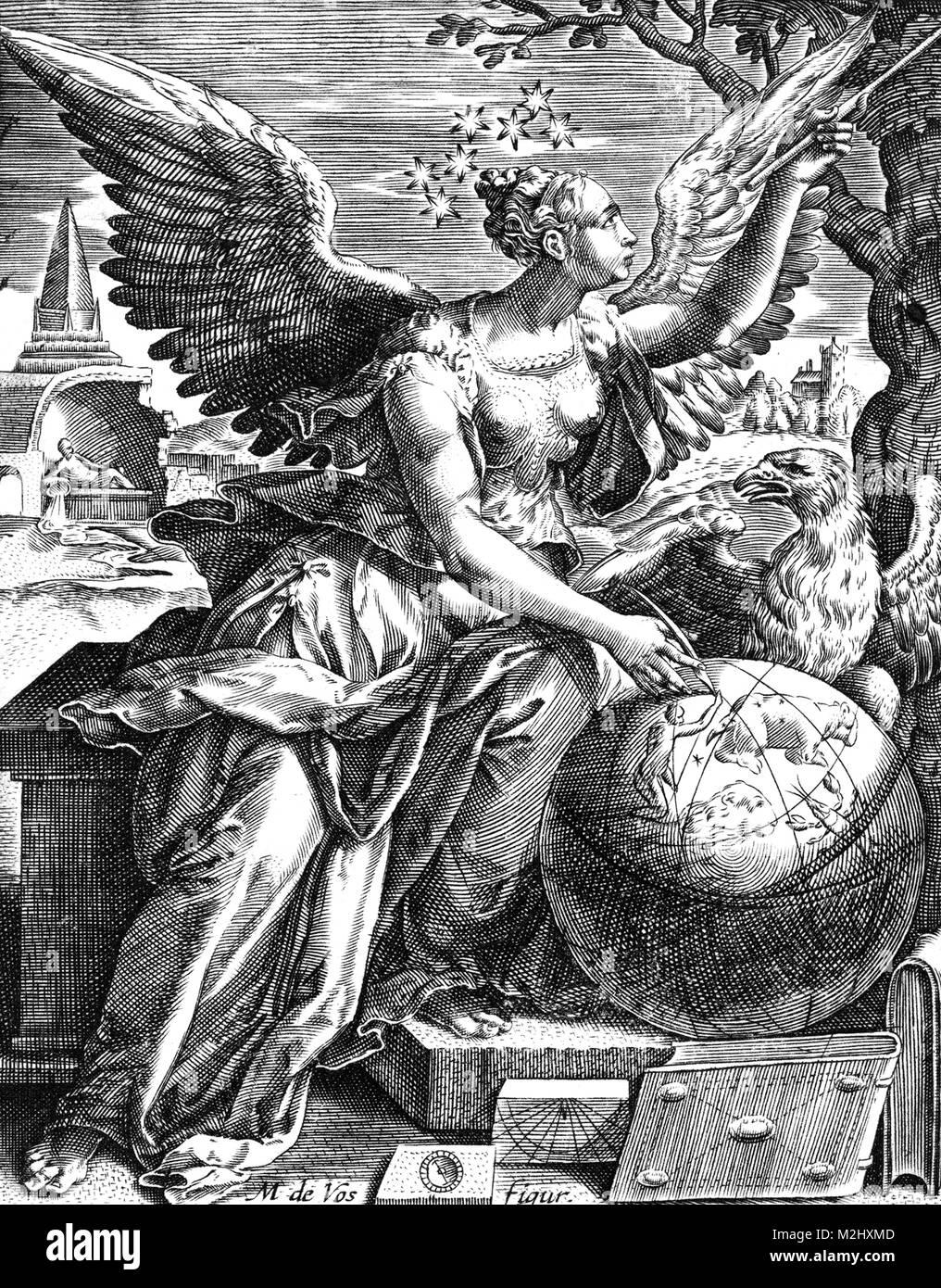 Arti Liberali, personificazione di Astronomia Immagini Stock