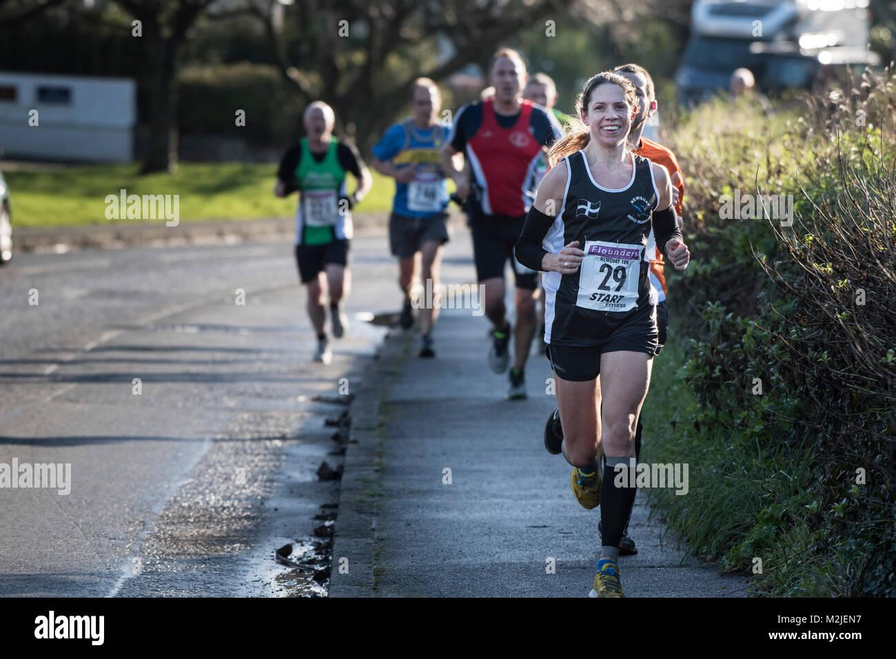 Guide di scorrimento per competere in una gara su strada in Newquay Cornwall. Immagini Stock