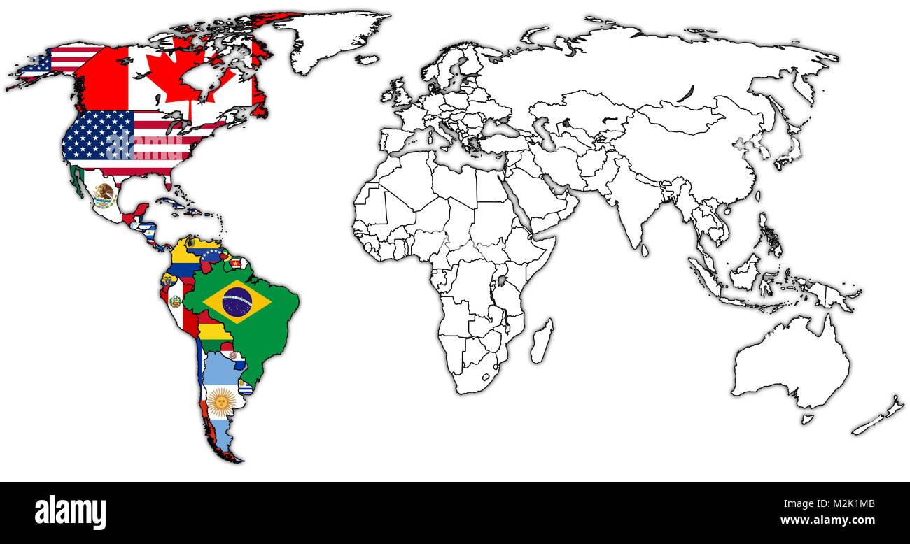 Cartina Degli Stati Del Mondo.Organizzazione Degli Stati Americani Mamber Bandiere Di Paesi Sulla Mappa Del Mondo Con I Confini Nazionali Foto Stock Alamy