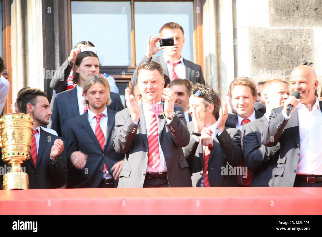 Empfang für den Chimpionsleague Finalisten auf dem Marienplatz im Rathaus München Immagini Stock