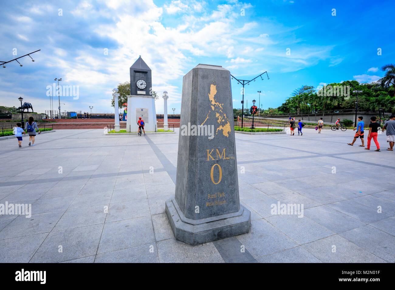 Manila, Filippine - Febbraio 4, 2018 : chilometro zero il marcatore a Manila nelle Filippine. Chilometro Zero è Immagini Stock