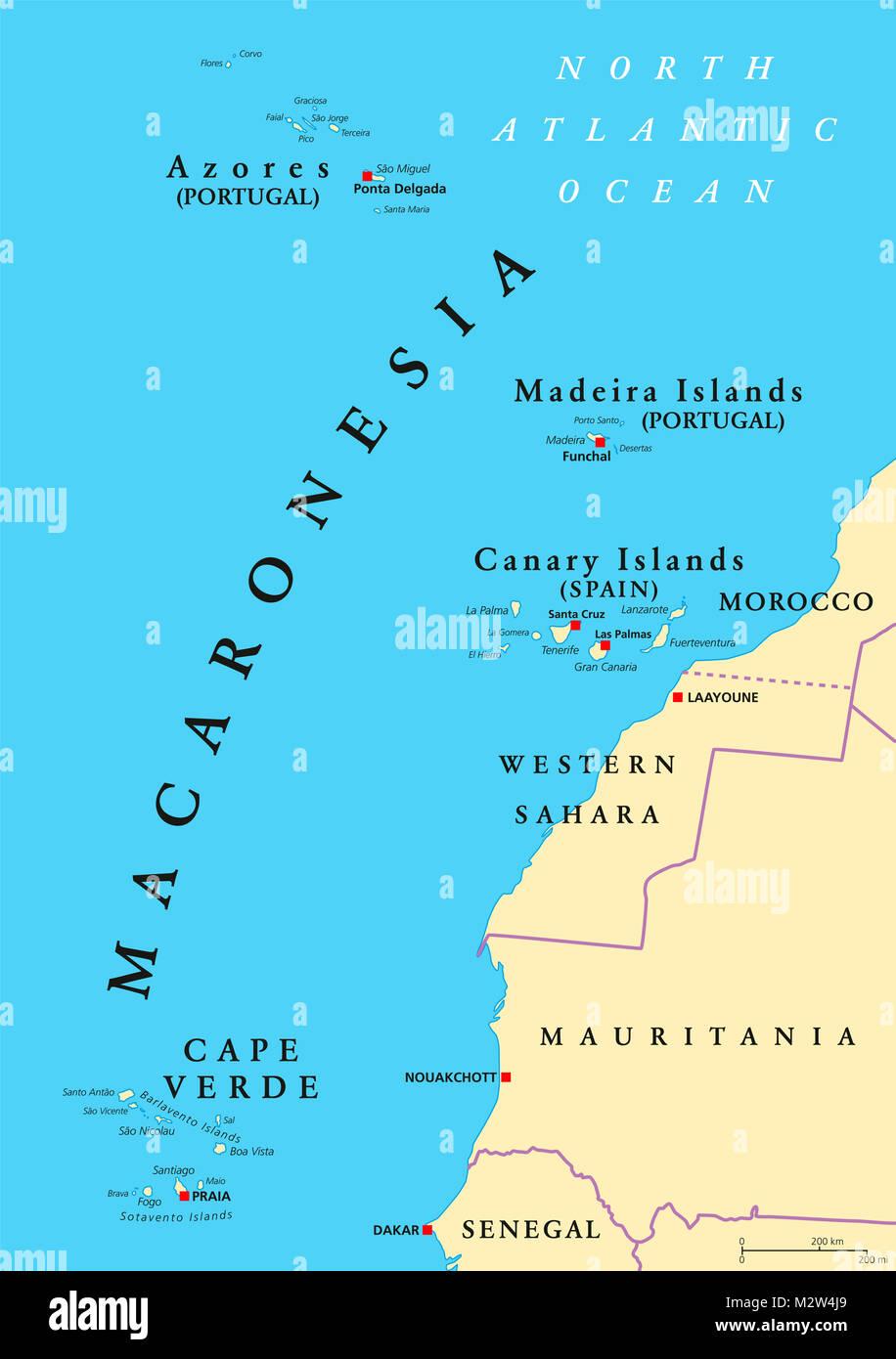 Canarie Cartina Geografica.La Macaronesia Mappa Politica Azzorre Capo Verde Di