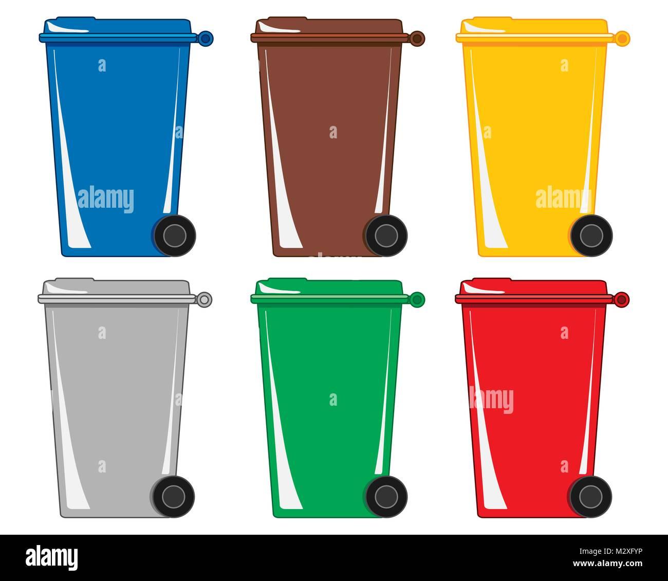 Una illustrazione vettoriale in formato eps 8 formato di sei coloratissimi impennata cassonetti per rifiuti e riciclaggio Immagini Stock