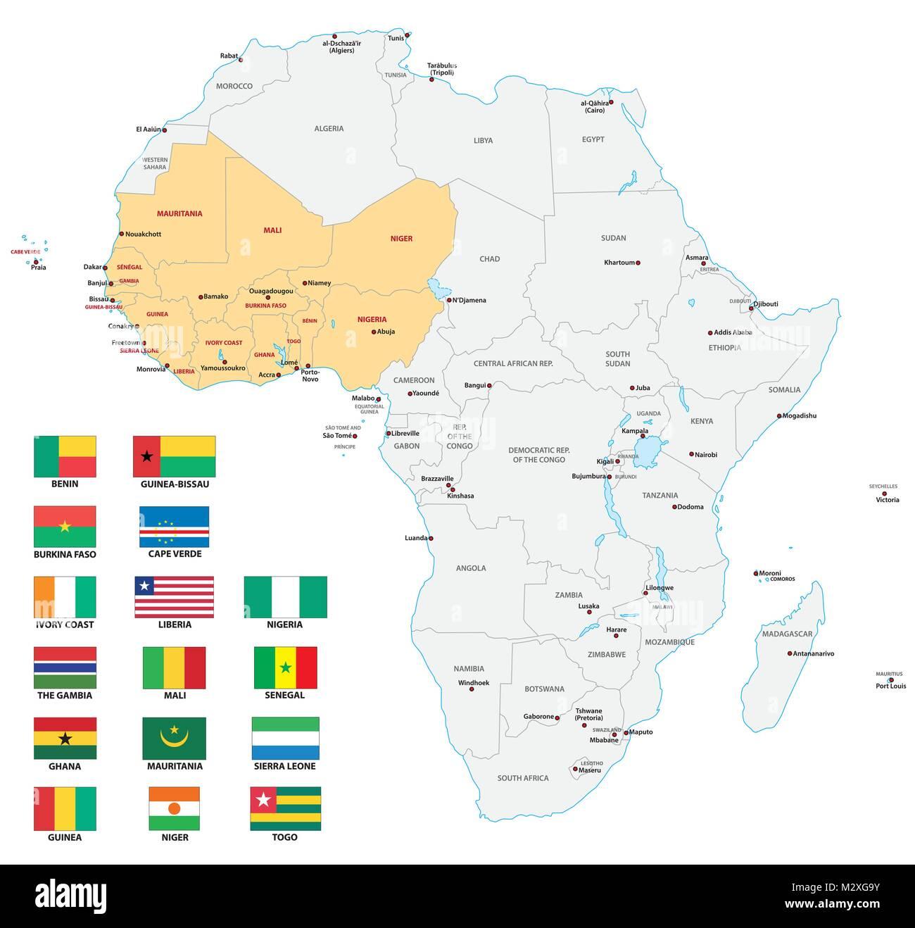Africa Occidentale Cartina Geografica.Africa Occidentale Politica E Amministrativa Di Mappa Vettoriale Con Bandiere Immagine E Vettoriale Alamy