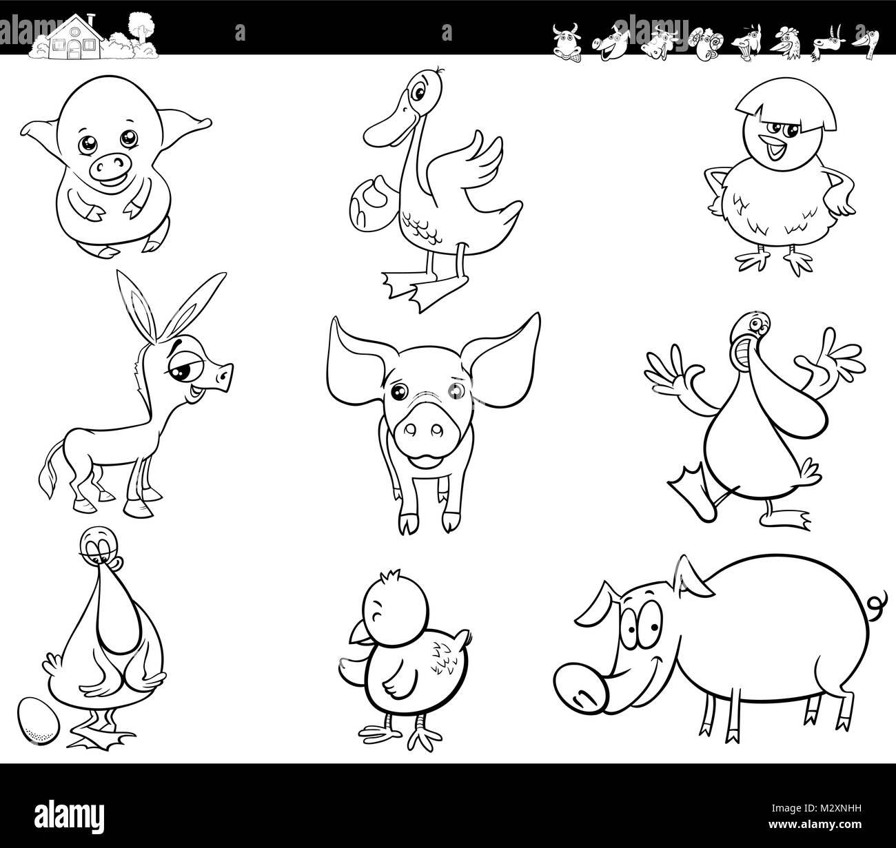 Bianco E Nero Cartoon Illustrazione Di Divertente Comico Animale