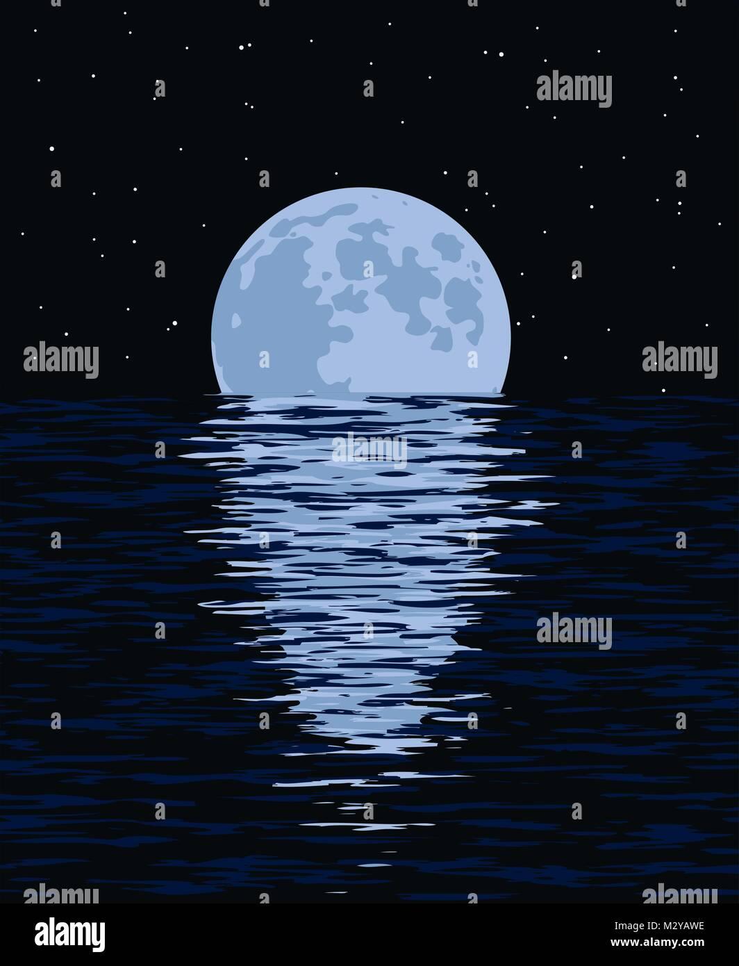Vettore Di Sfondo Il Mare E La Luna Piena Di Notte Illustrazione Di