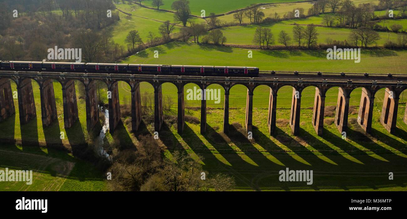 Ouse Valley viadotto, Sussex, Regno Unito vista aerea Immagini Stock