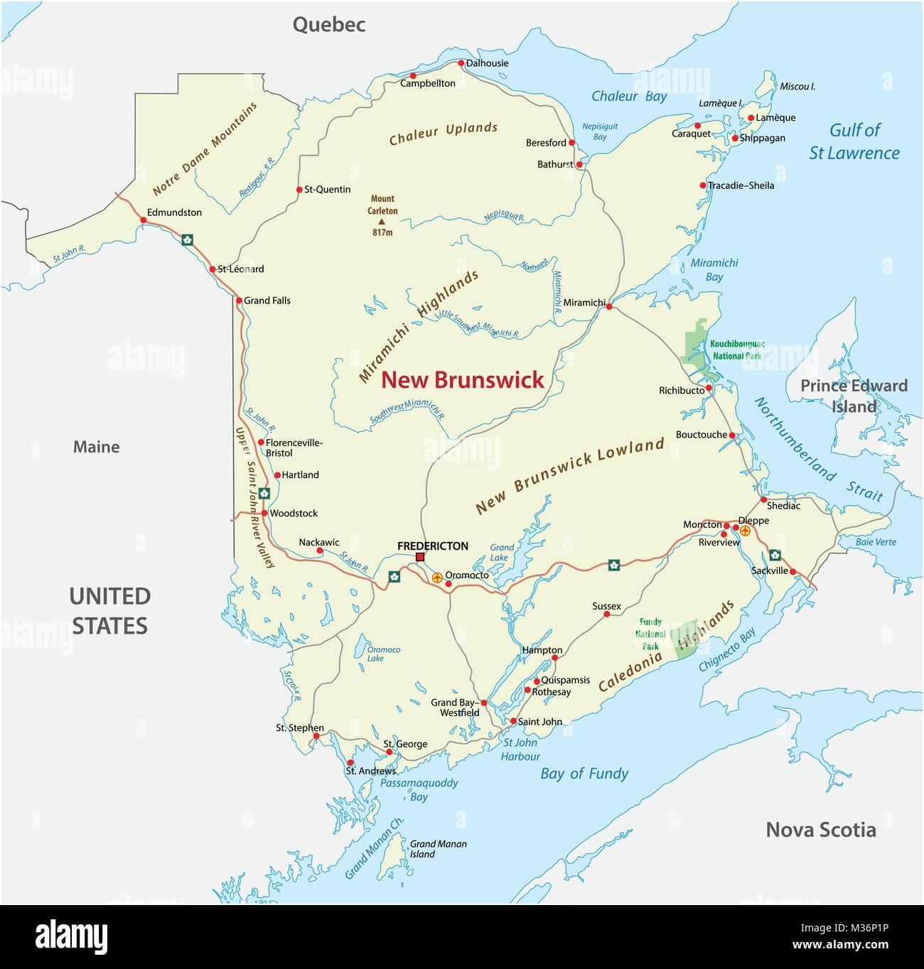 Vettore Stradale Mappa Del Canada Atlantico Provincia New Brunswick