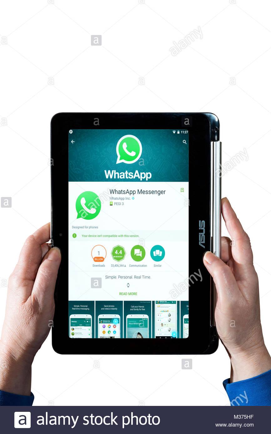 Donna che mantiene un Asus Chromebook con Whatsapp Messenger, l'instant messaging app, sullo schermo. Dorset, Immagini Stock