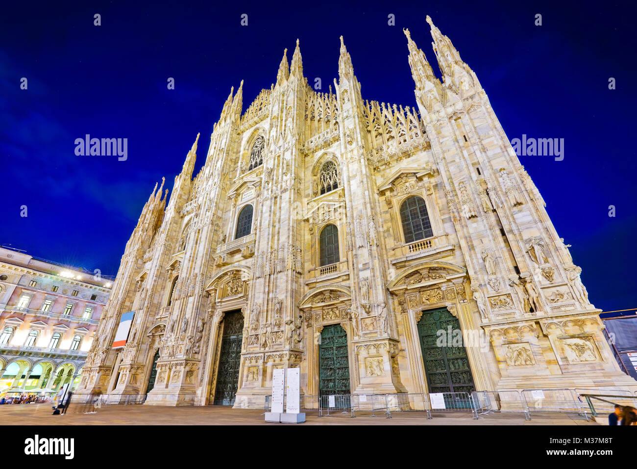 Vista del Duomo di Milano nella notte in Milano, Italia. Immagini Stock