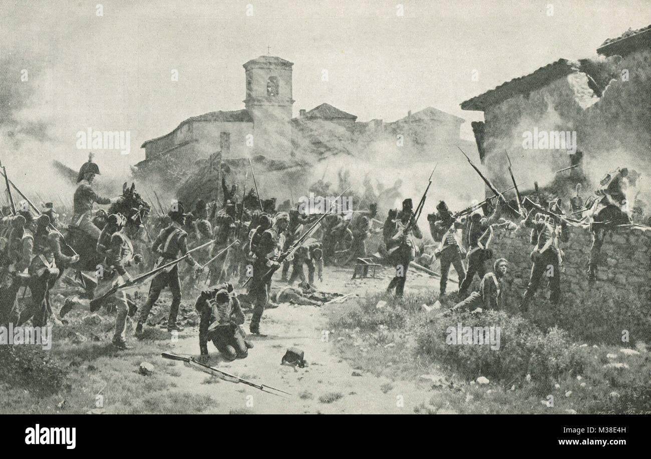 General Maggiore Robinson's tenendo vigili del villaggio di Gamara sindaco, Battaglia di Vitoria, 21 giugno Immagini Stock