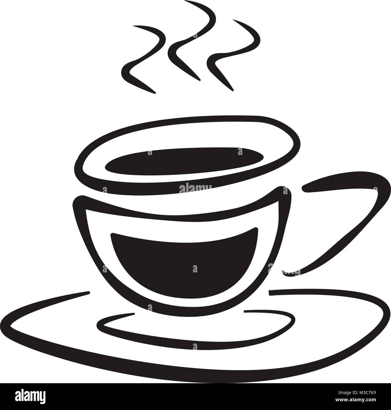 Tazza Di Caffè Con Piattino Doodle Disegno Vettoriale Di Icona