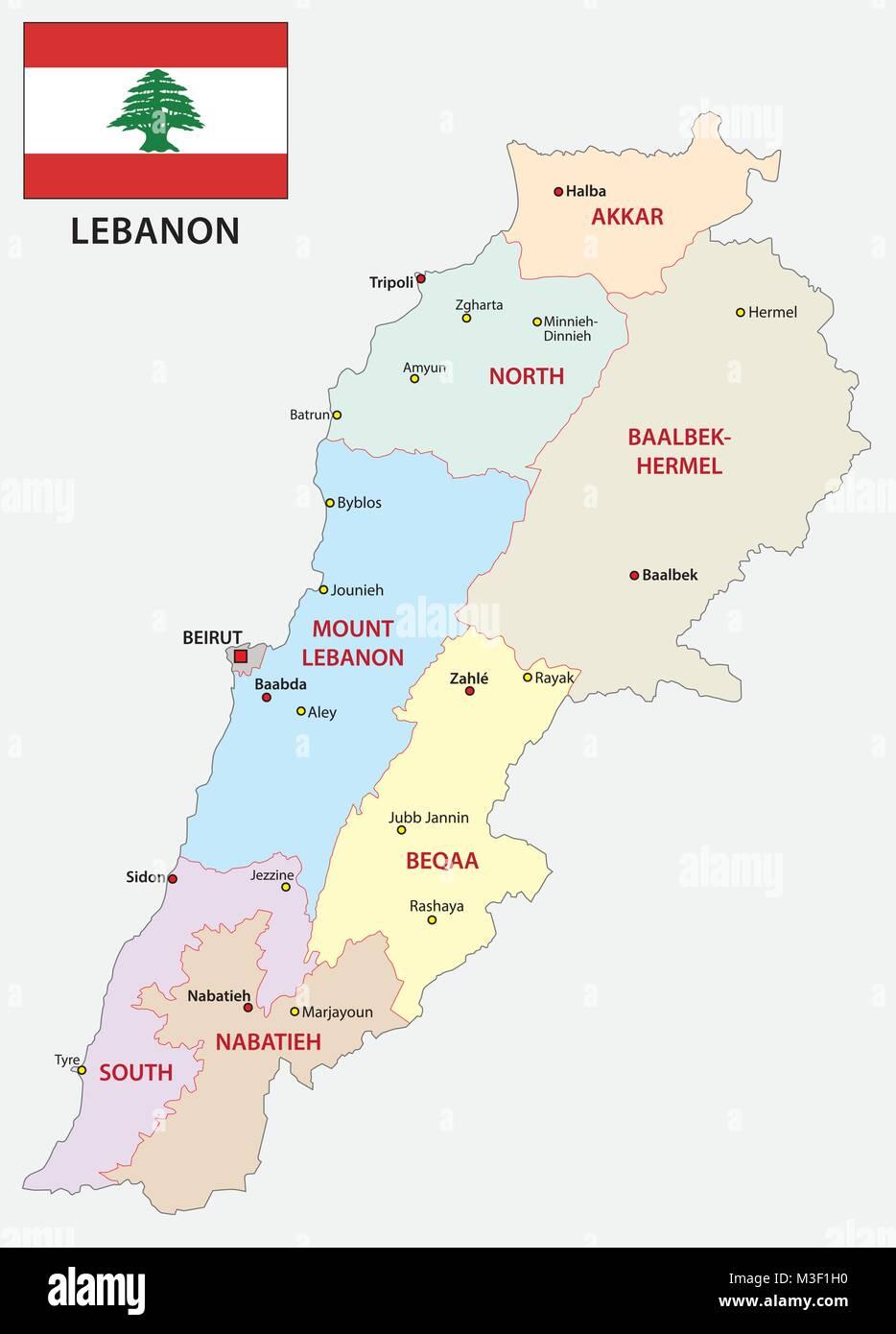Cartina Politica Del Libano.Il Libano Politica E Amministrativa Di Mappa Vettoriale Con Bandiera Immagine E Vettoriale Alamy