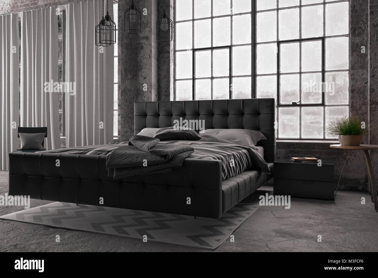 Letto King Size In Moderno Stile Loft Camera Da Letto Con Ampia Finestra Il Rendering 3d Foto Stock Alamy