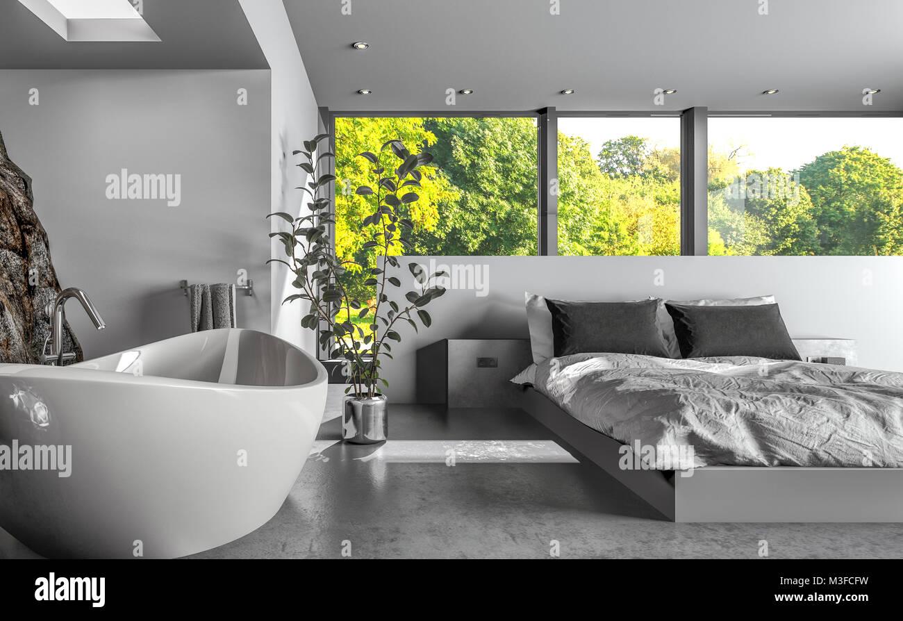 Il lusso moderno bedsitter o hotel camera da letto con una ...