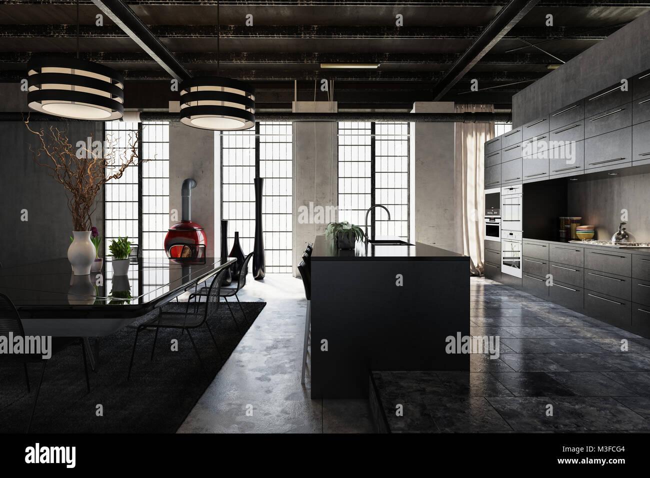 Spazioso E Moderno Loft Industriale La Conversione Con Elegante Cucina Attrezzata Con Bancone Bar E Una Zona Pranzo Separata Con Tavolo E Sedie Da Giardino Illuminato Da Foto Stock Alamy