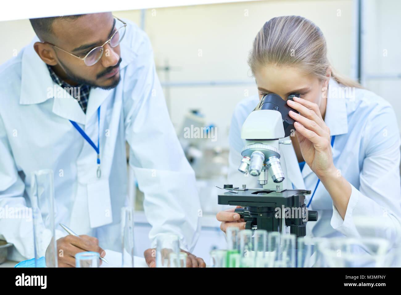 Gli scienziati stanno svolgendo attività di ricerca in laboratorio Immagini Stock