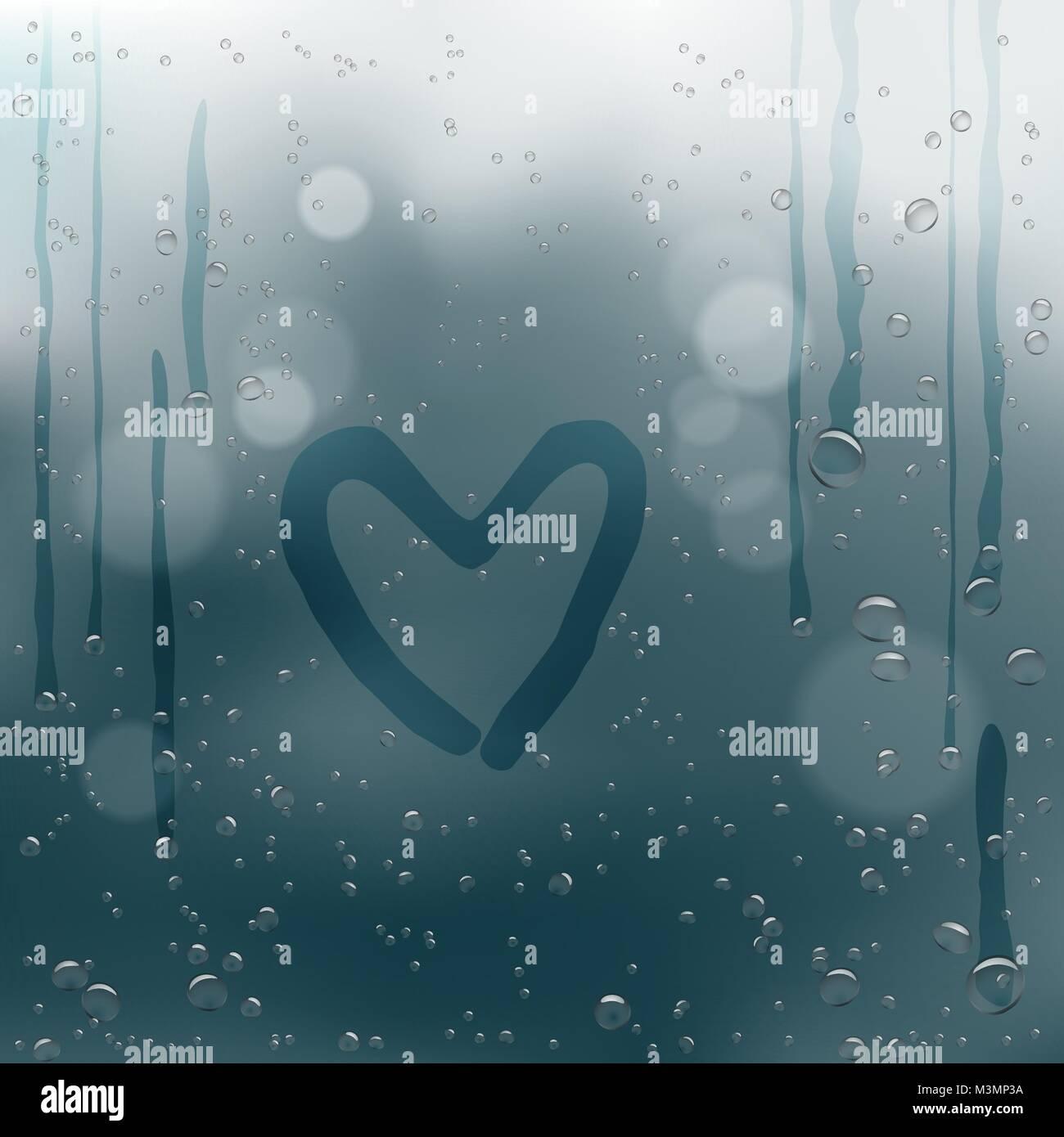 Disegnare il cuore sulla pioggia di gocce di acqua bokeh di fondo Immagini Stock