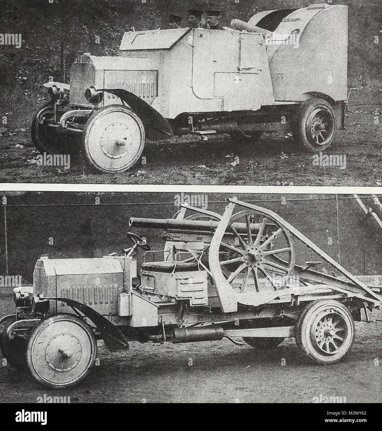 Un tedesco di furgoni blindati che porta artiglieria di armatura di protezione e quindi rimuove la corazza per utilizzare Immagini Stock