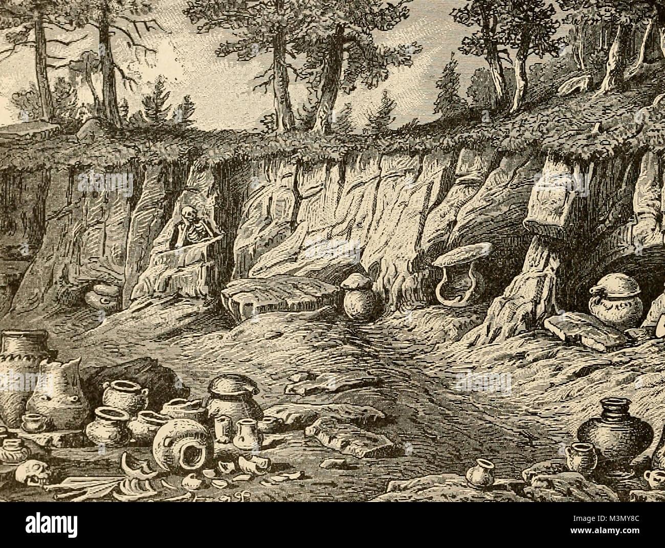 Cimitero di epoca preistorica del periodo quaternario, vicino Littai, in Carniola, Austria Immagini Stock