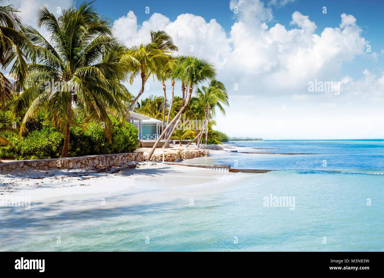 Bungalow sulla spiaggia su un isola tropicale Immagini Stock