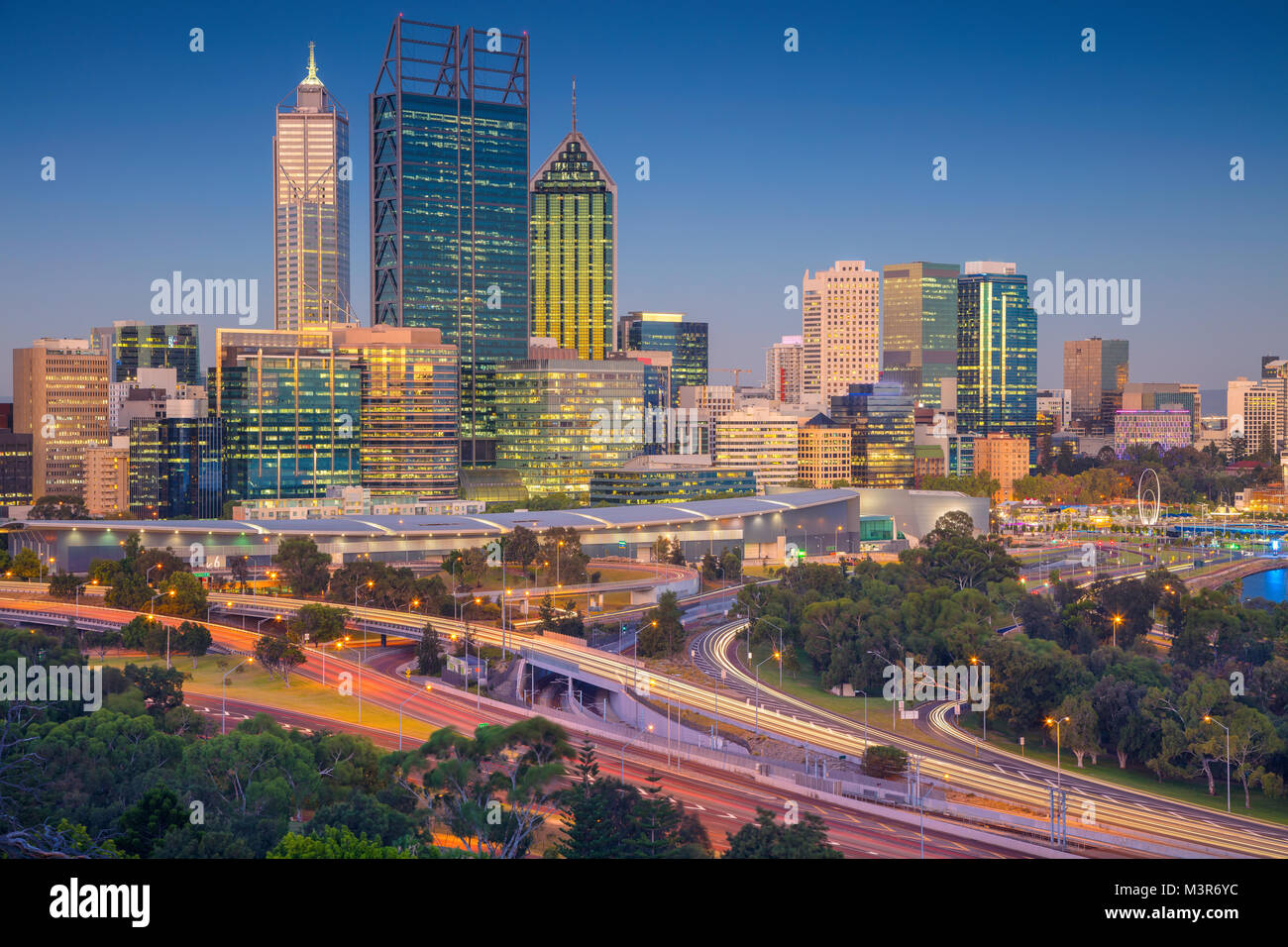 Perth. Cityscape immagine dello skyline di Perth, Australia durante il tramonto. Immagini Stock