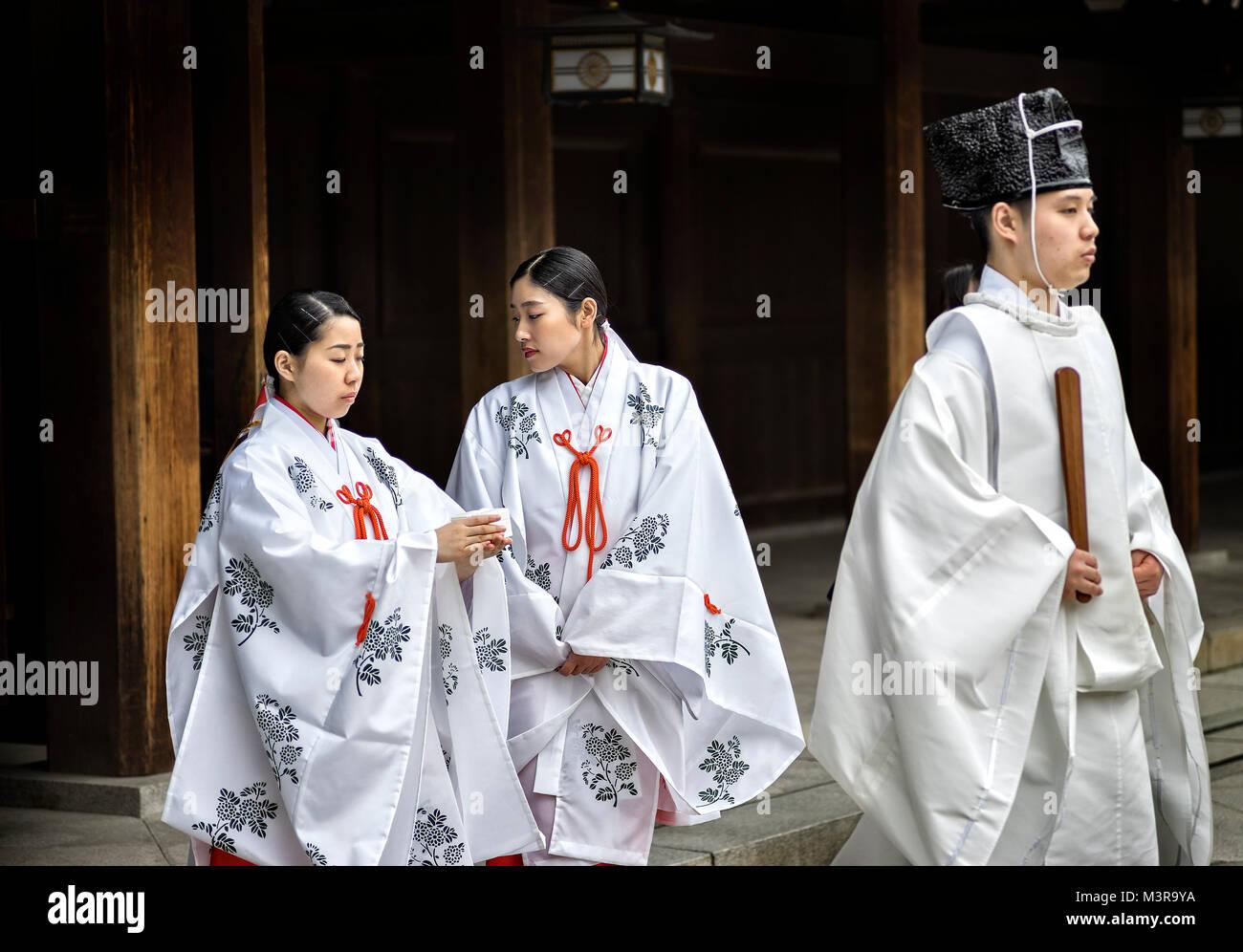 Giappone, isola di Honshu, Kanto, Tokyo, cerimonia di matrimonio. Immagini Stock