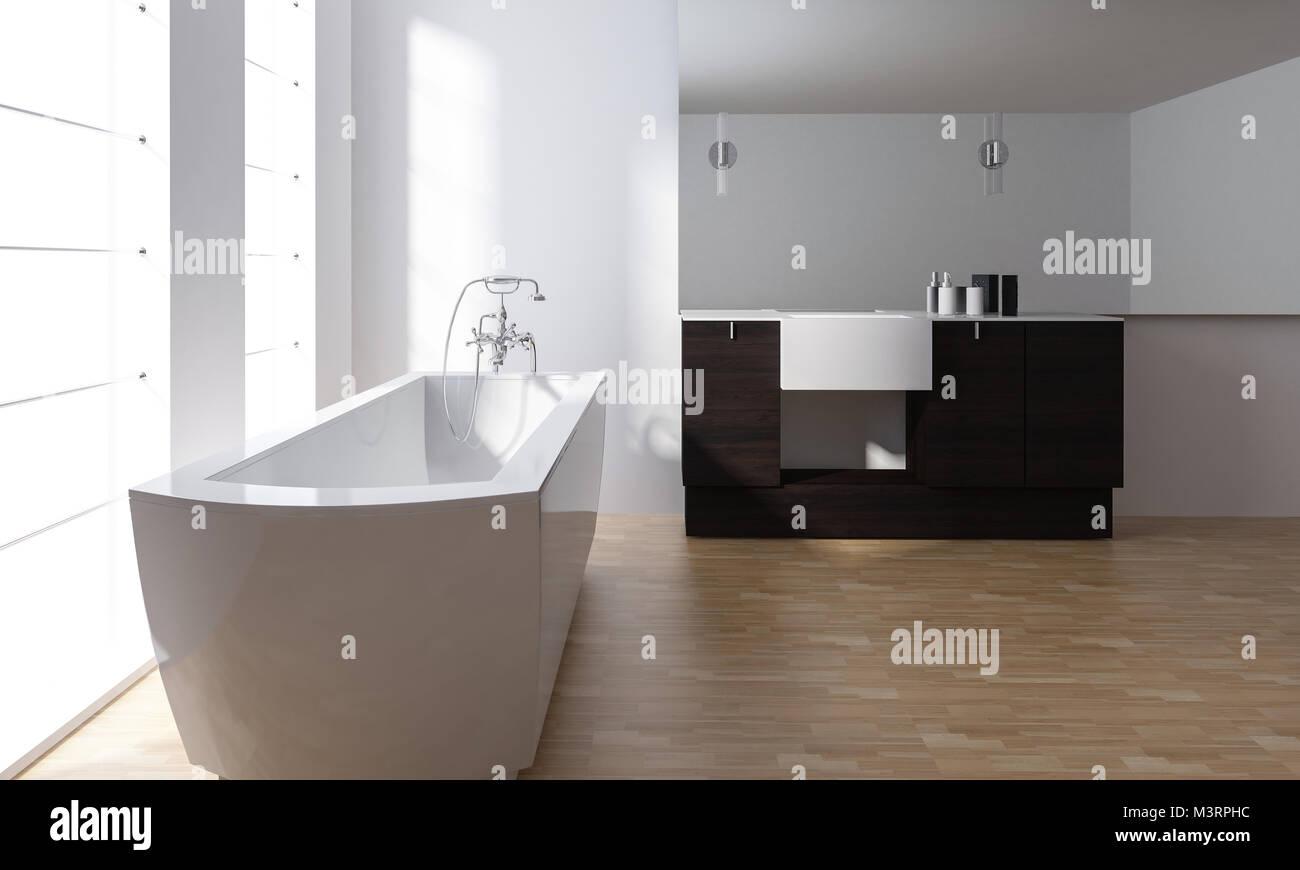 Moderno minimalista elegante bagno interno bianco con vasca da bagno in ceramica nera e vanit for Vasca da bagno in inglese
