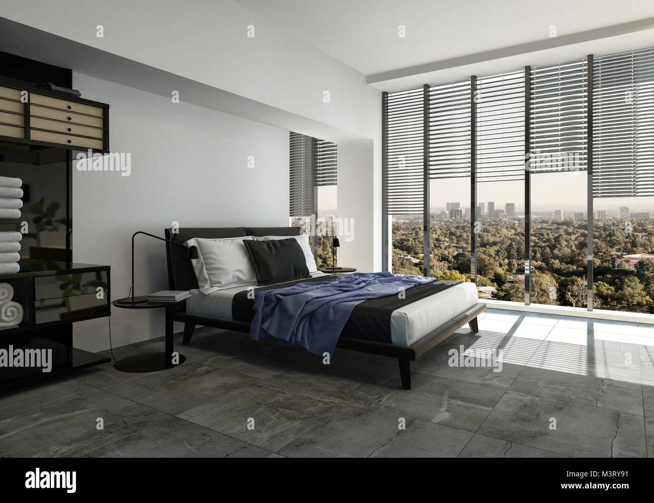 Moderna camera da letto con un divano letto in stile su un ...