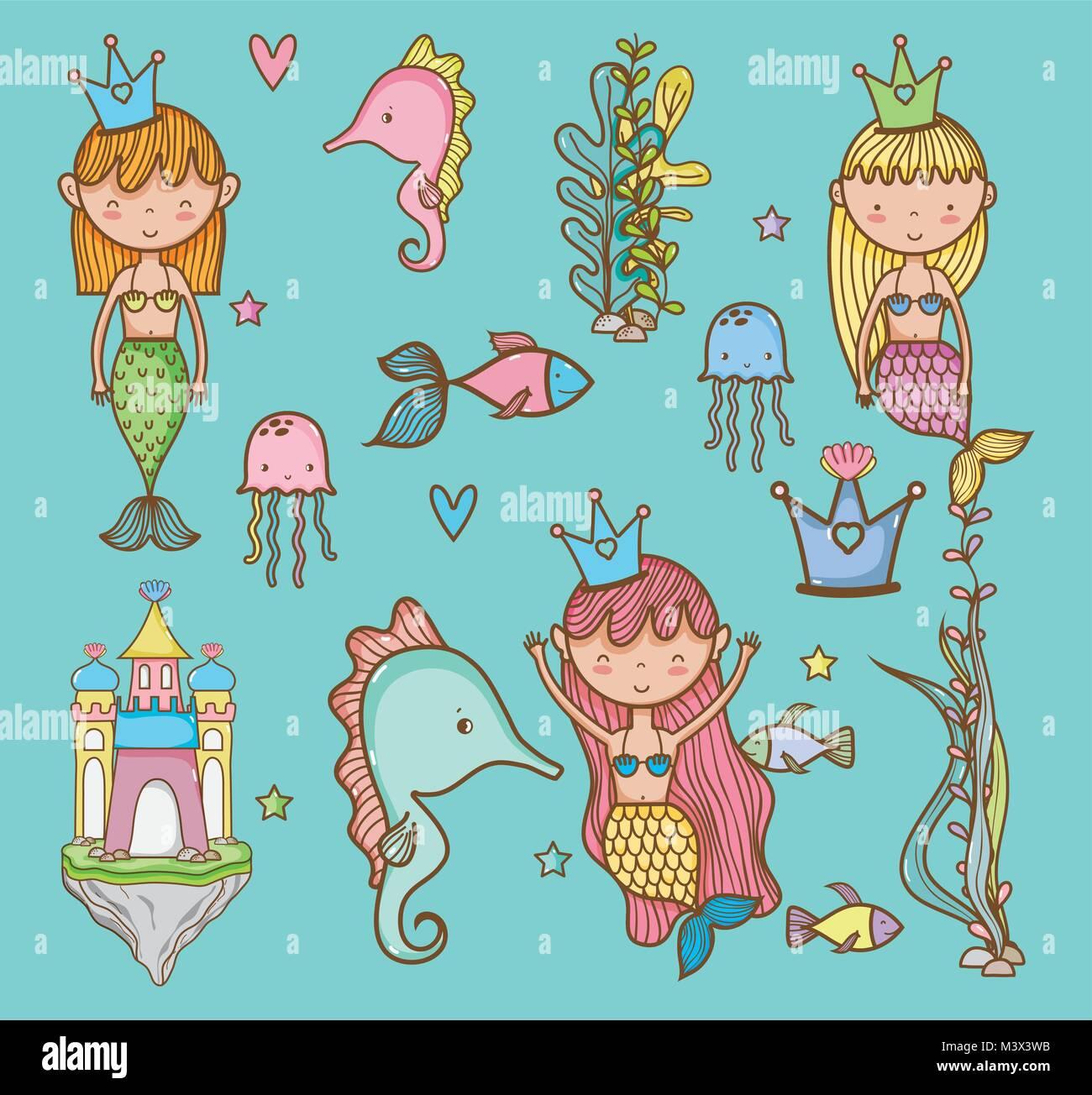 Gli animali del mare disegno a mano cartoni animati