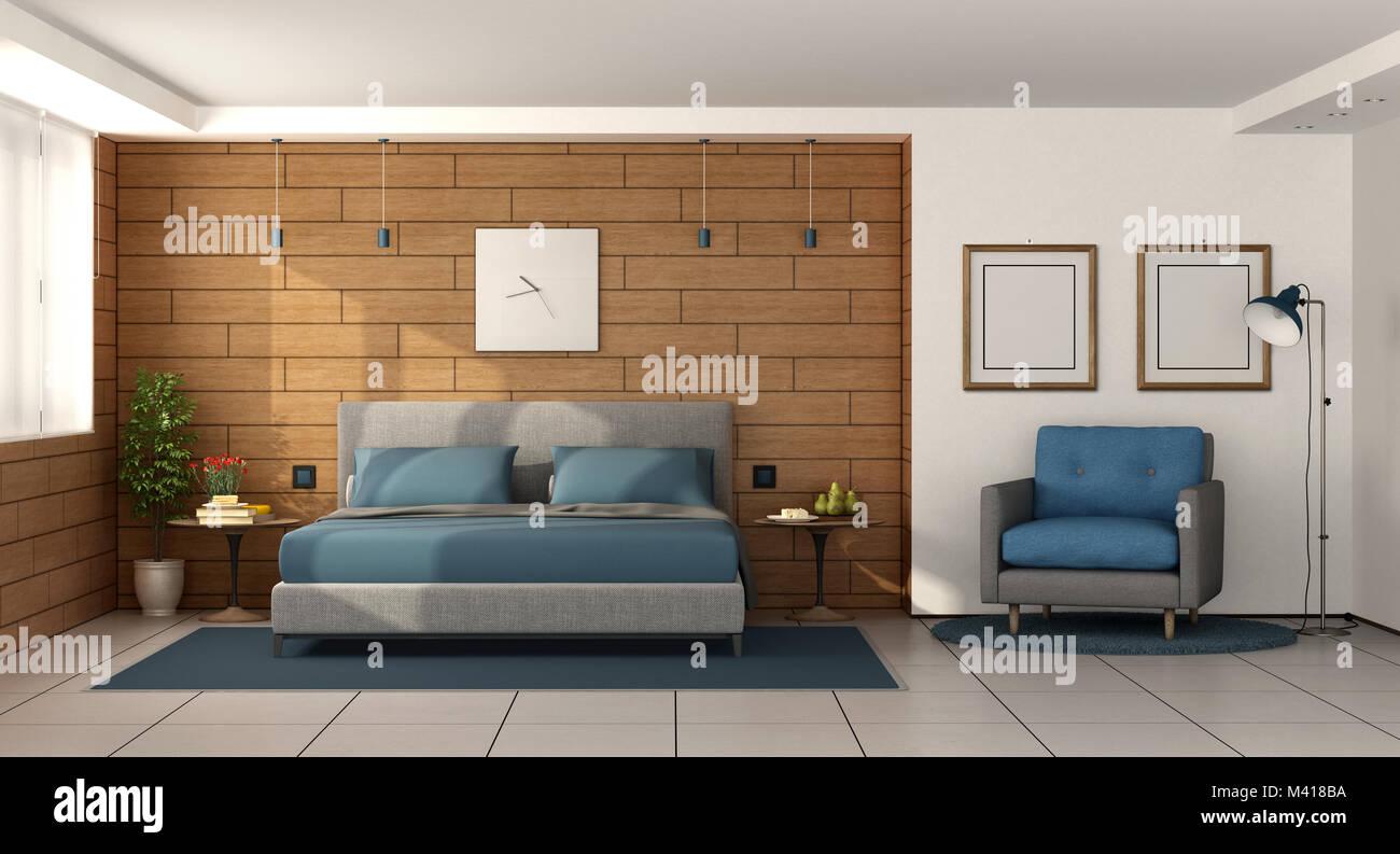Camera Da Letto Padronale Foto : Moderna camera da letto padronale con letto matrimoniale sulla
