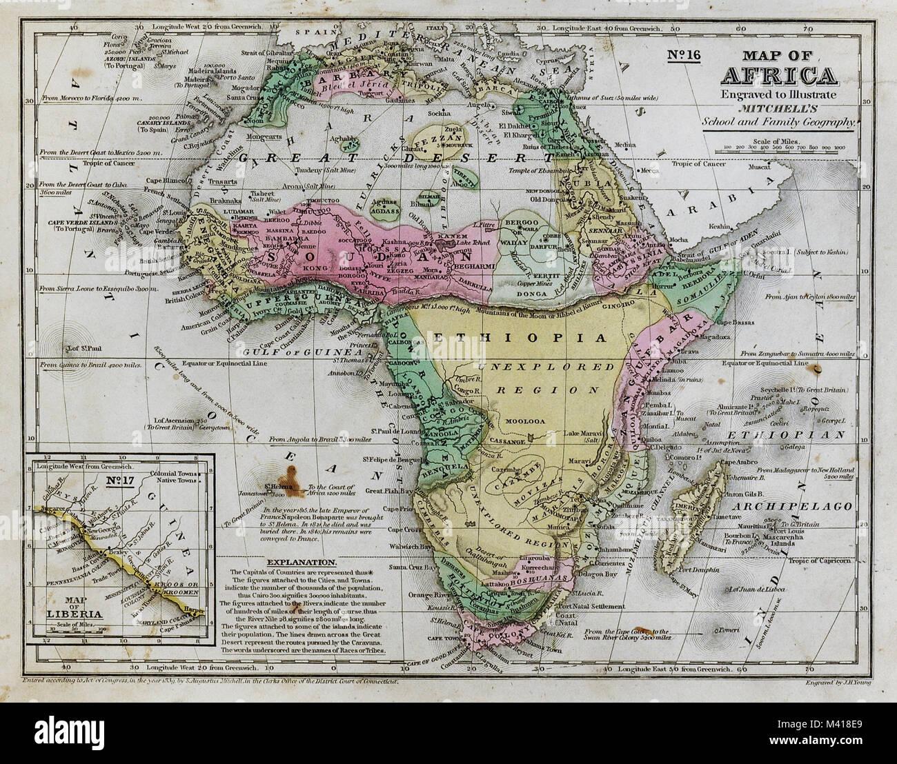 Cartina Africa Egitto.1839 Mitchell Mappa Africa Guinea Sudan Etiopia Egitto Liberia Congo Colonia Del Capo Sud Africa Foto Stock Alamy
