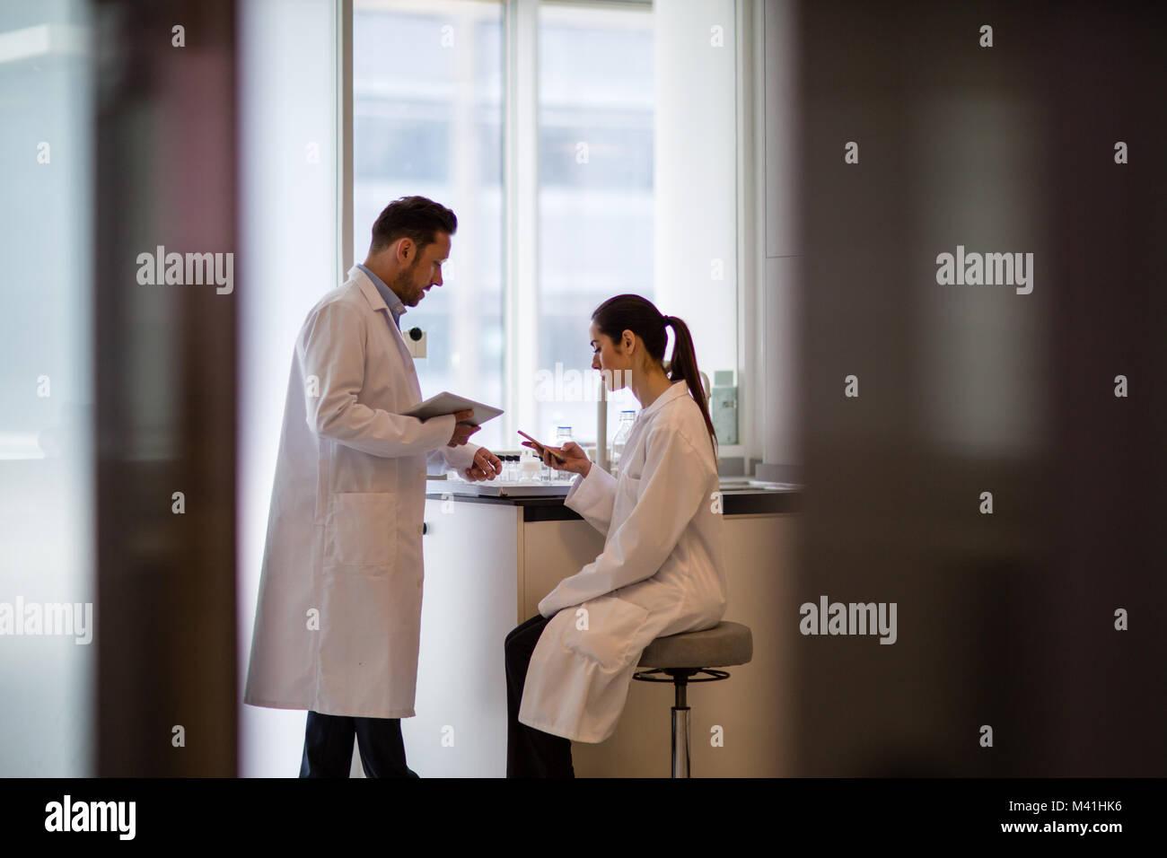 Donna scienziato discutere i risultati di esperimento con il collega di sesso maschile Immagini Stock