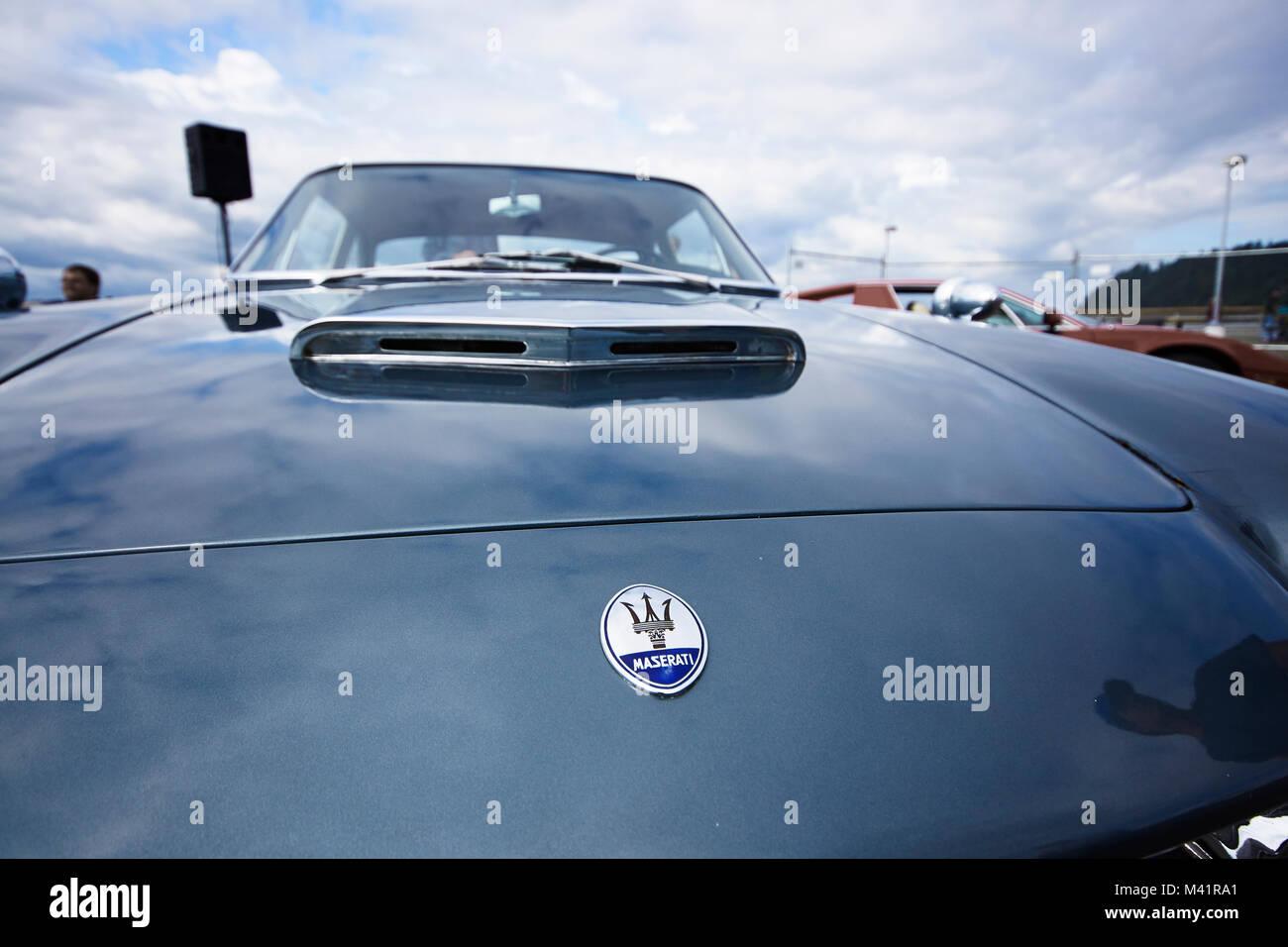 Dettagli di una Maserati 1961 3500 GTi gran turismo Immagini Stock