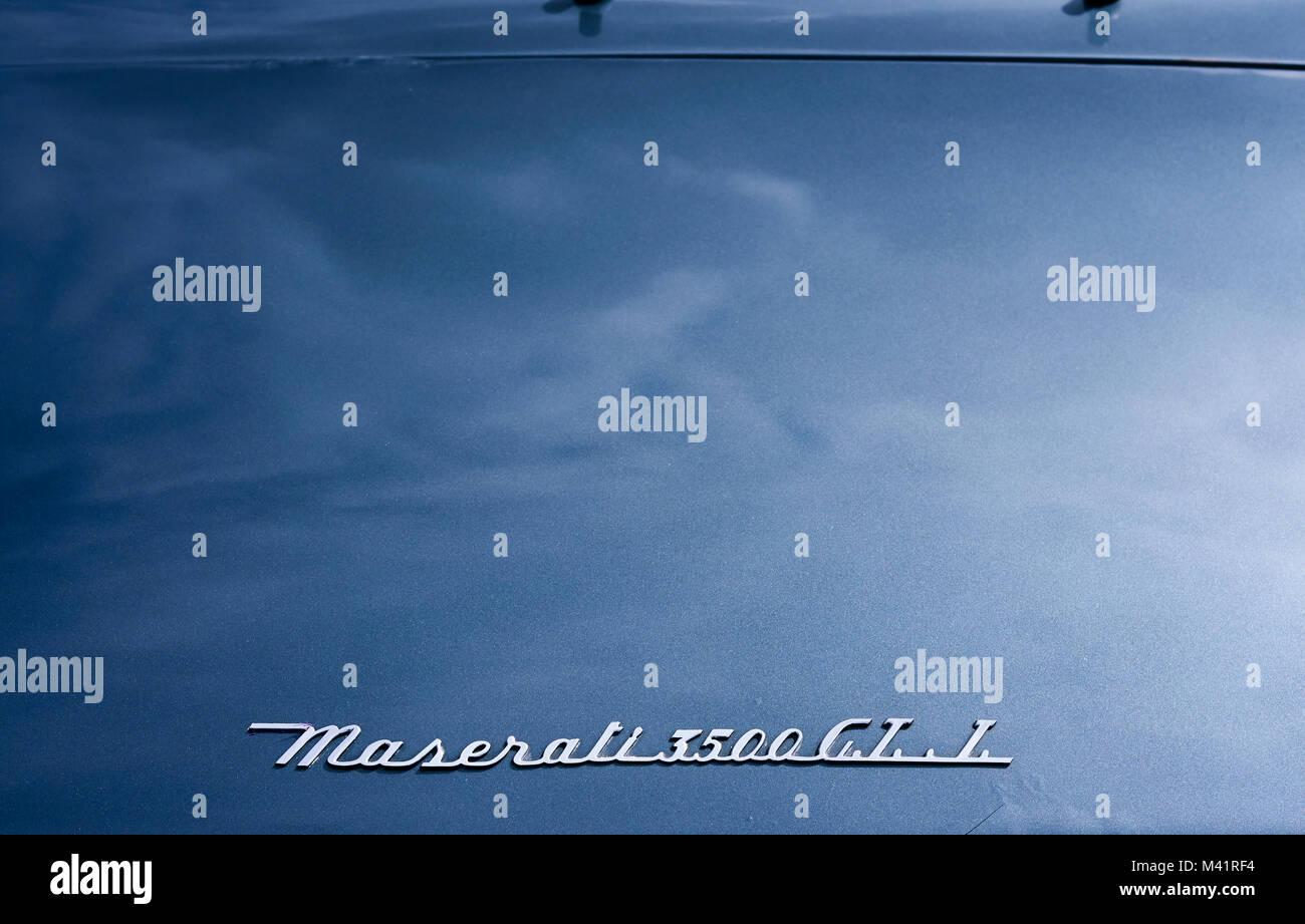 Dettagli di una Maserati 1961 3500 GTi gran turismo Foto Stock