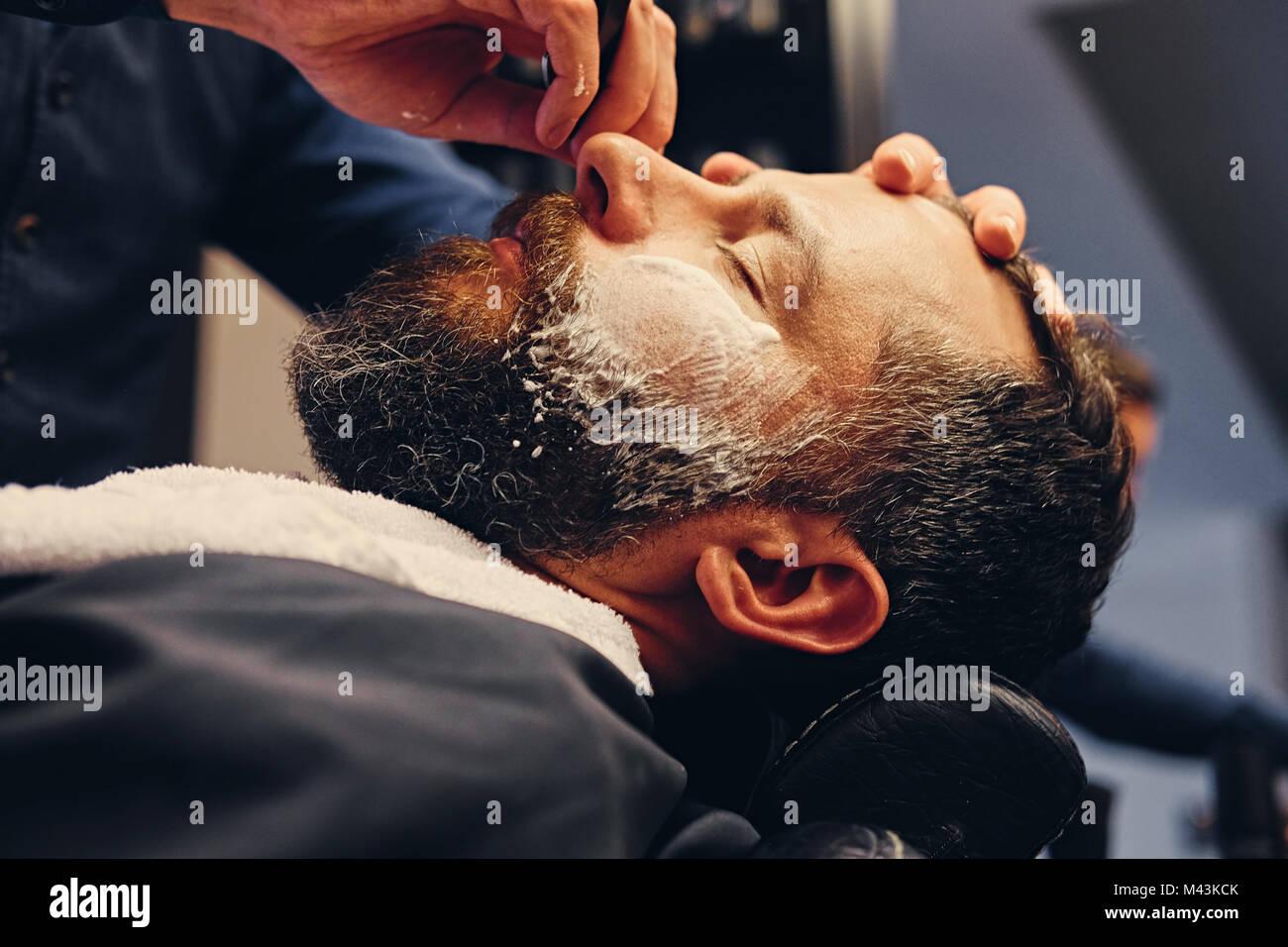 Chiudere l immagine del barbiere Immagini Stock