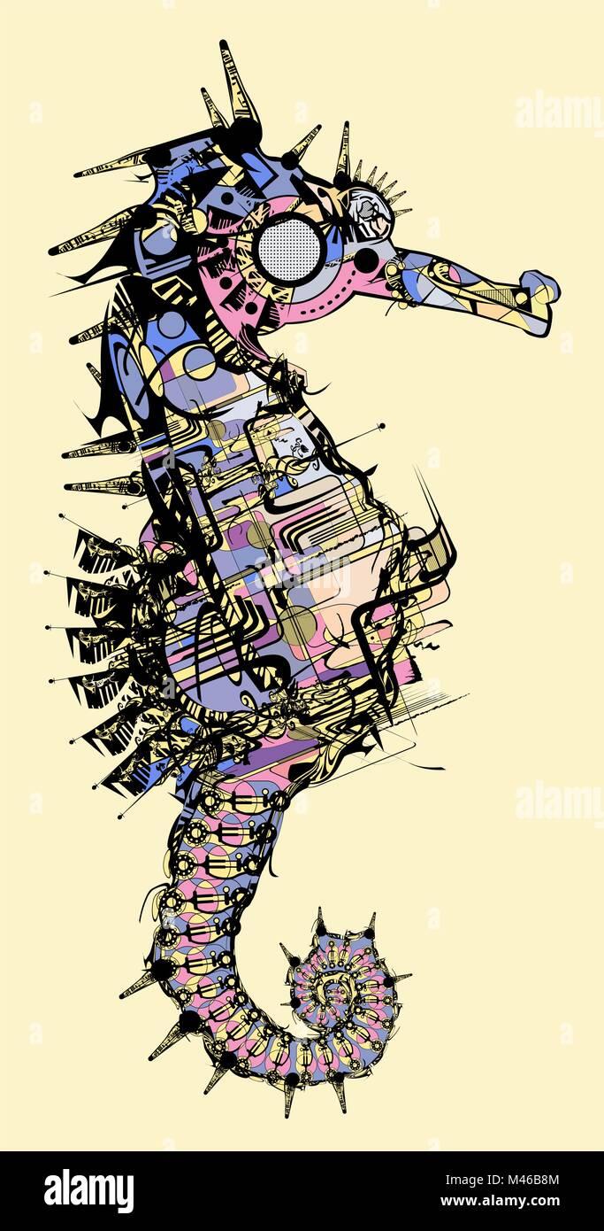 Illustrazione Vettoriale Di Un Cavalluccio Marino Stilizzato Disegno