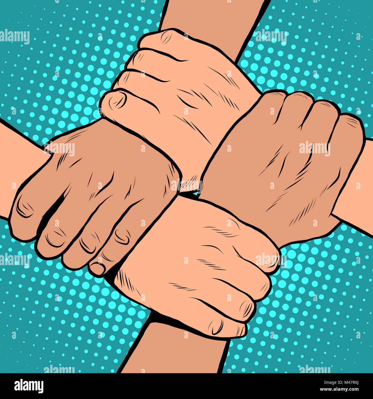 Bianco nero solidarietà arresto di handshake razzismo pop art in stile retrò Immagini Stock