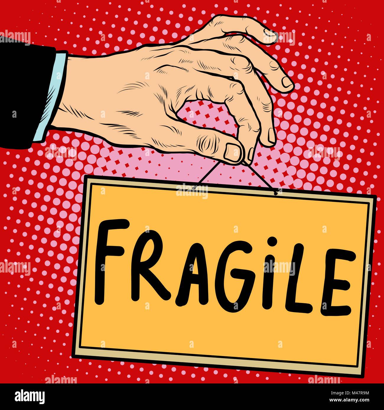 Segno di mano fragile Immagini Stock