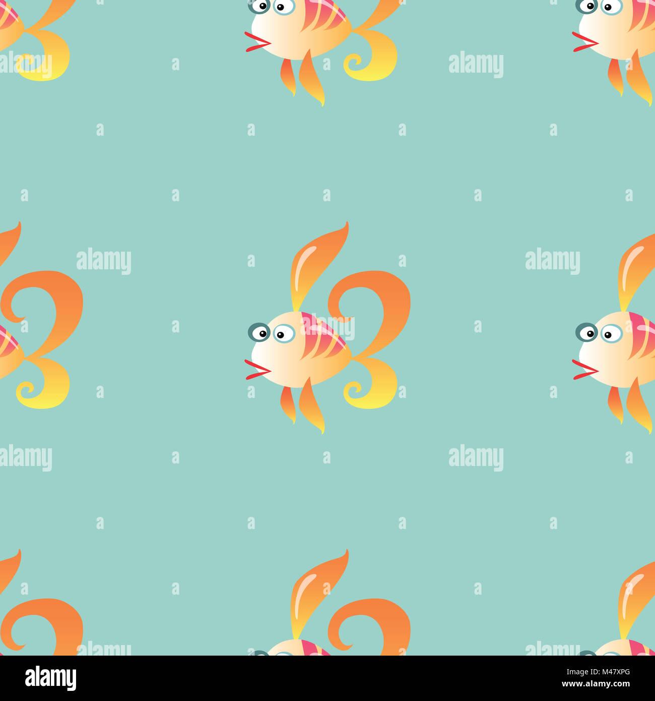 Goldfish marine pattern seamless sfondo Immagini Stock