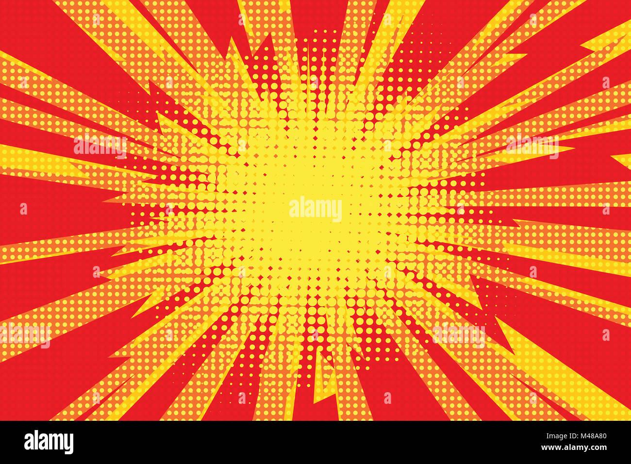 Rosso Giallo Pop Art Retrò Cartoon Sfondo Fulmine Esplosivo Radi