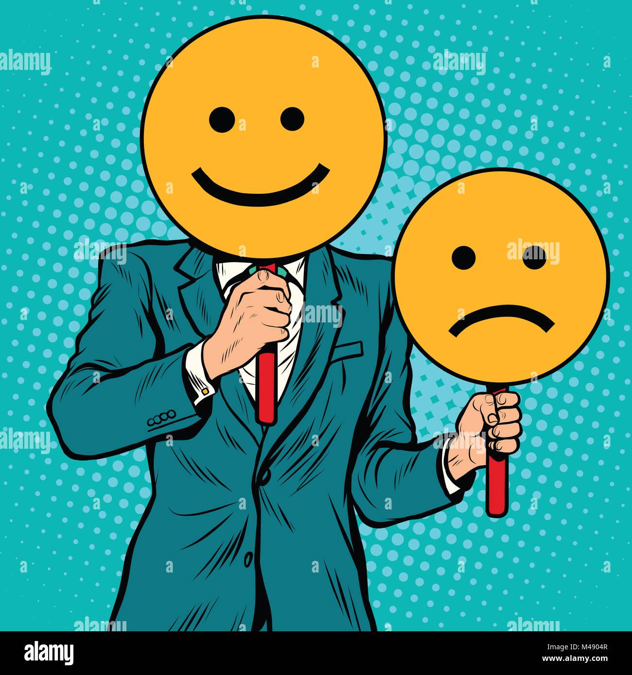 Smiley espressioni facciali felici e tristi Immagini Stock