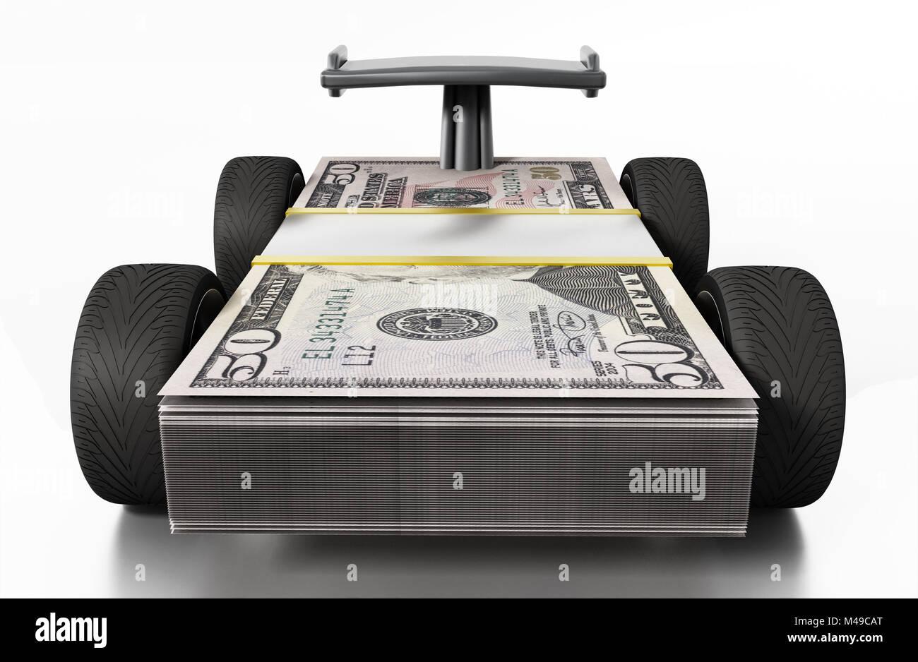 Gomme da gara e spoiler connesso a 50 fatture del dollaro. 3D'illustrazione. Immagini Stock