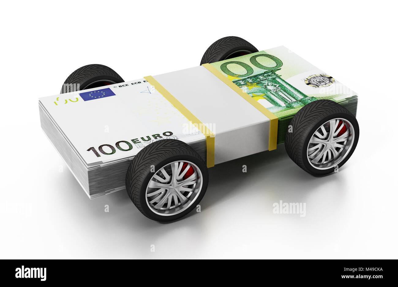 Gomme da gara connesso a 100 Euro Bills. 3D'illustrazione. Immagini Stock