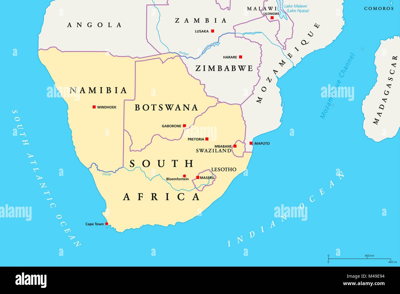 Cartina Africa Del Sud.Africa Australe Mappa Politico La Regione Piu Meridionale Del