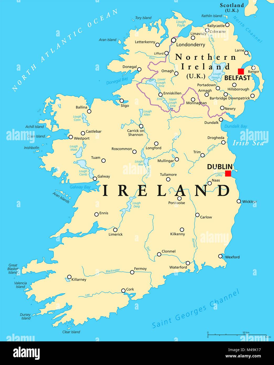 Irlanda Del Nord Cartina.In Irlanda E In Irlanda Del Nord Mappa Politico Con Capitelli A Dublino E Belfast Bordi Importanti Citta Fiumi E Laghi Isola Del Nord Atlantico Foto Stock Alamy