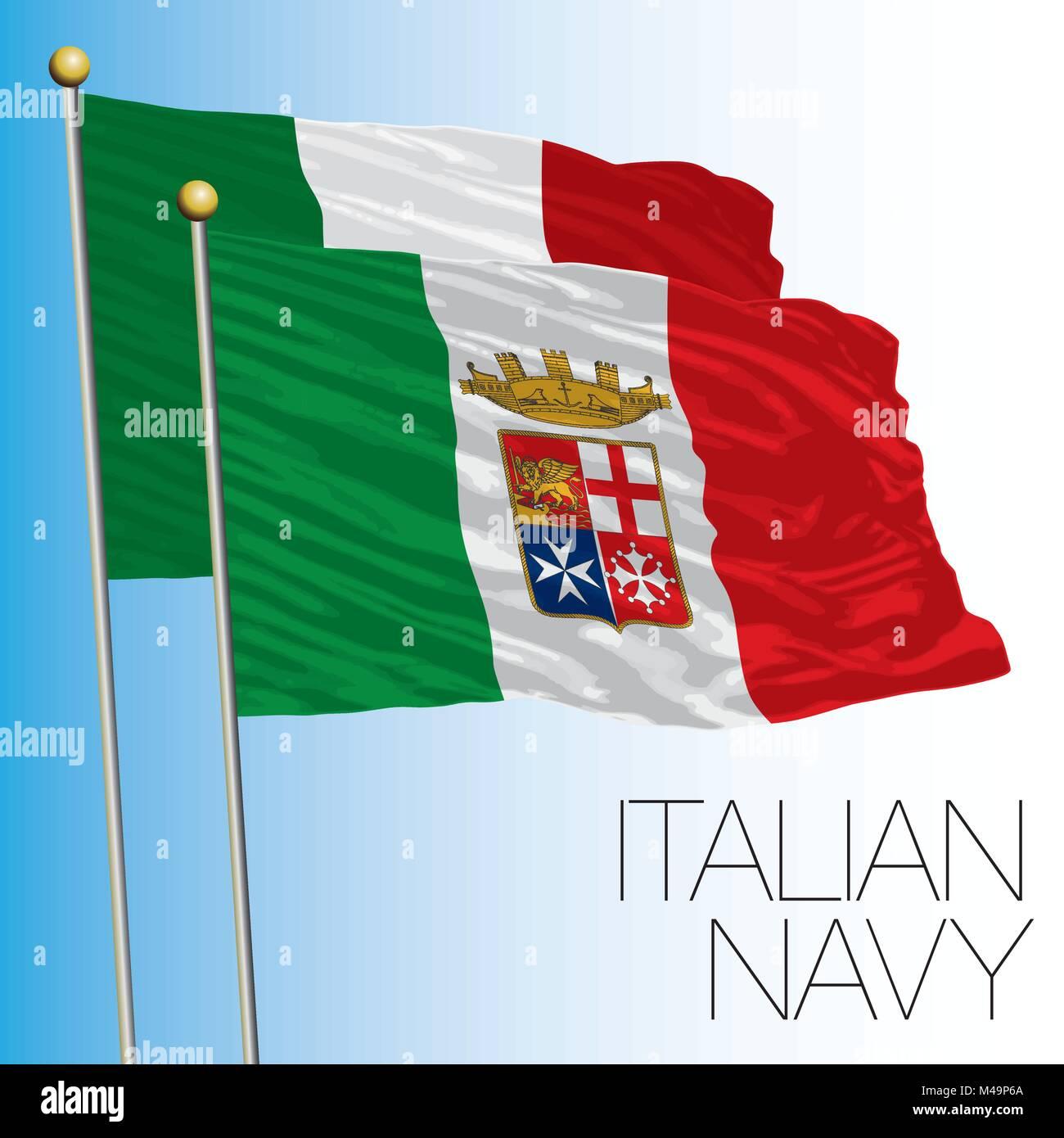 Marina Militare Italiana bandiera, Marina Militare, Italia Illustrazione Vettoriale