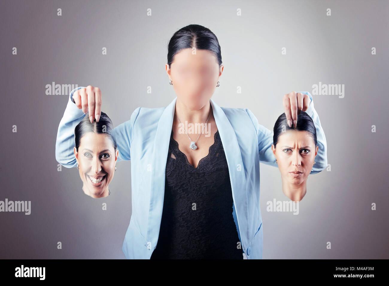Donna di affari con il disturbo di identità Immagini Stock