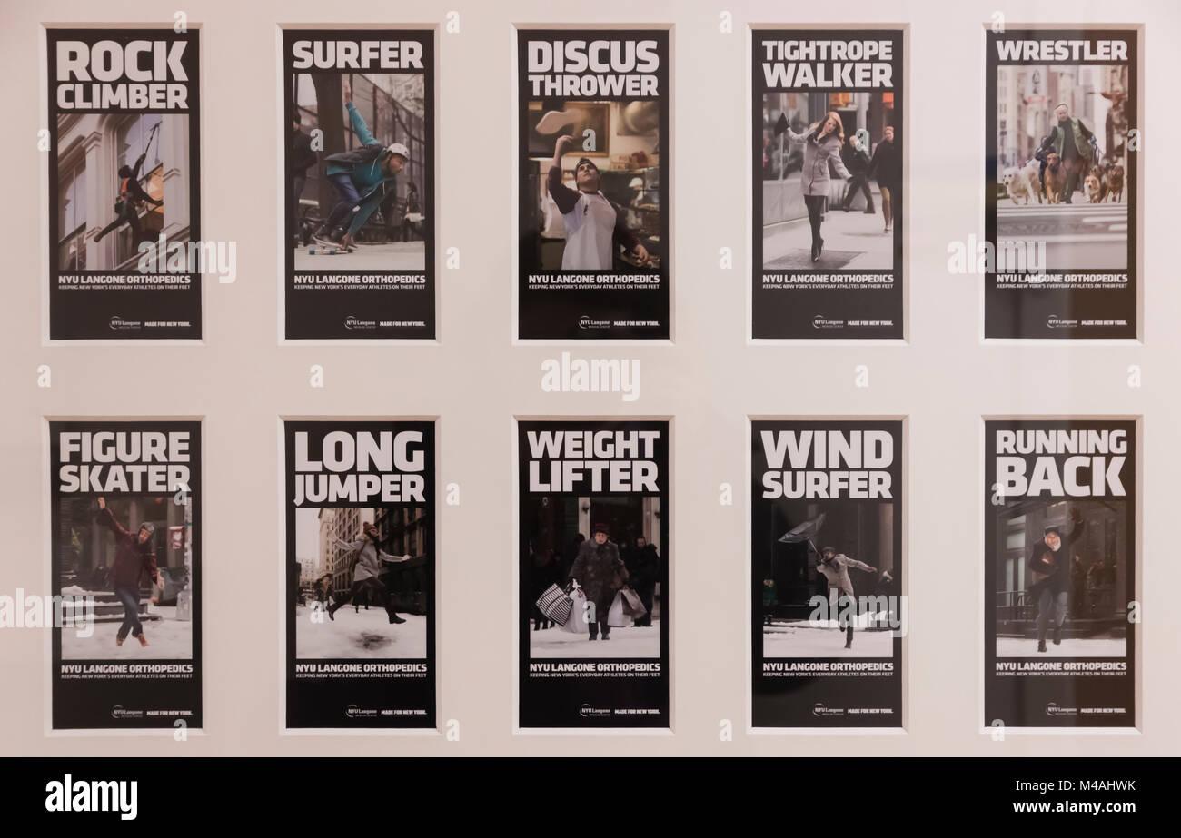 Campagna pubblicitaria per la NYU Langone Medical Center del reparto di Ortopedia. Il tema sottolinea gli atleti Immagini Stock